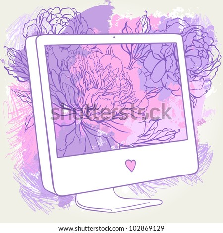 hand drawn computer display