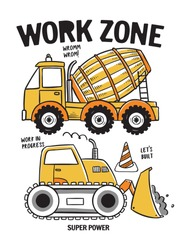 Hand drawn construction machines. For t-shirt prints, posters and other uses.