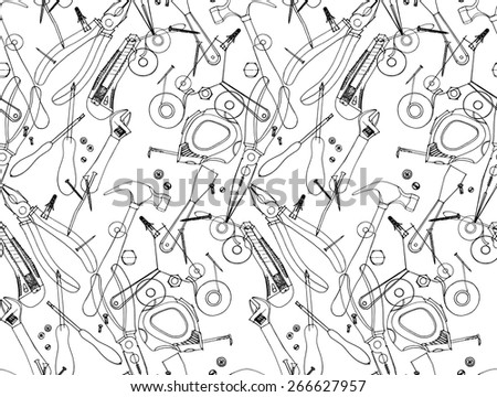 Hand Drawn Construction Tools On Craft Paper Cutter Screwdriver Pliers Adjustable Wrench
