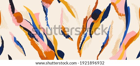 Hand drawn contemporary abstract print. Creative collage seamless pattern. Fashionable template for design.