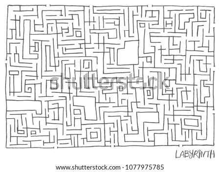 hand drawn contour maze vector