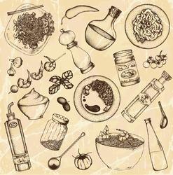 Hand drawn cooking food set