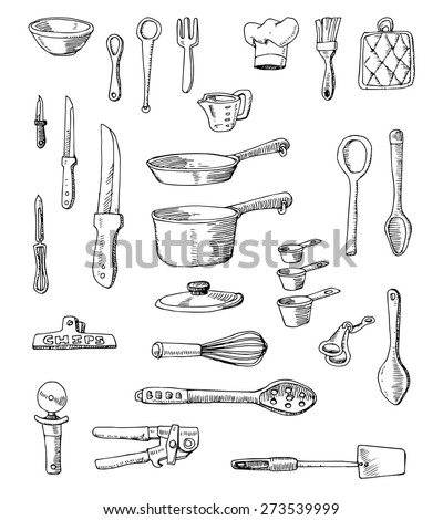 hand drawn cookware set
