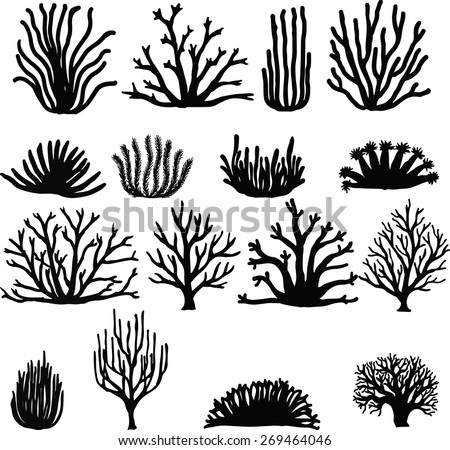 Shutterstock Hand drawn corals isolated on white. Silhouette icons.