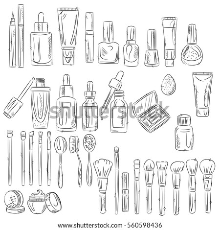 Vector Images Illustrations And Cliparts Hand Drawn Cosmetic Tools Cosmetology Background Isolated Beauty Products Hqvectors Com