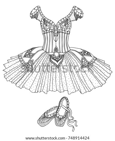 Hand drawn costume of a ballerina – dress and shoes. Sketch for anti-stress adult coloring book in zentangle style. Vector illustration  for coloring page. Vector illustration  for coloring page.