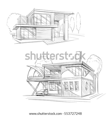 hand drawn cottage house sketch