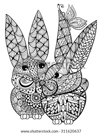 hand drawn couple rabbits
