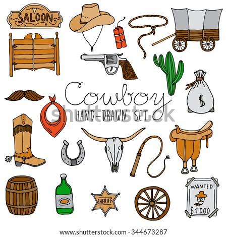 hand drawn cowboy icons set