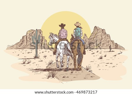 hand drawn cowboys riding