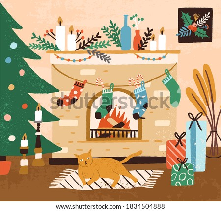 Hand drawn cozy interior with Christmas tree and cat lying near fireplace vector flat illustration. Xmas decorations at hygge home. Cozy holiday room with kitten, socks, gift boxes and candles