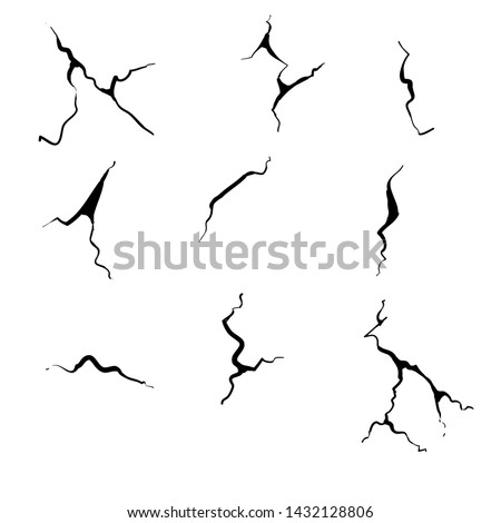 hand drawn cracked glass,wall,egg,ground in cartoon doodle style vector illustration