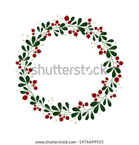 hand drawn cranberry wreath