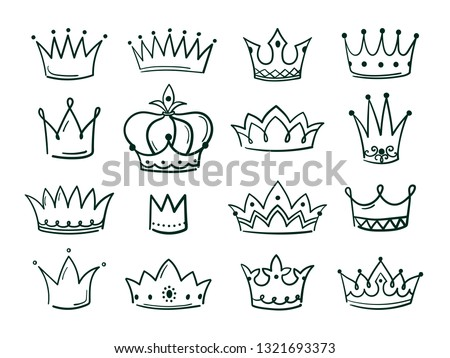 Hand drawn crown. Sketch crowns queen coronet simple elegant black crowning vintage coronal icons majestic tiara isolated vector set