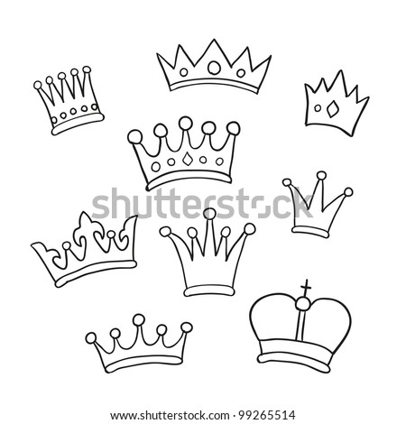 Hand drawn crowns. Vector illustration