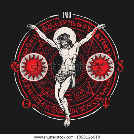 Hand-drawn crucifix of Jesus Christ with the Sun, Moon, alchemical and Masonic symbols on the black background. Abstract vector banner on the religious theme with cryptic signs written in a circle Stock photo ©