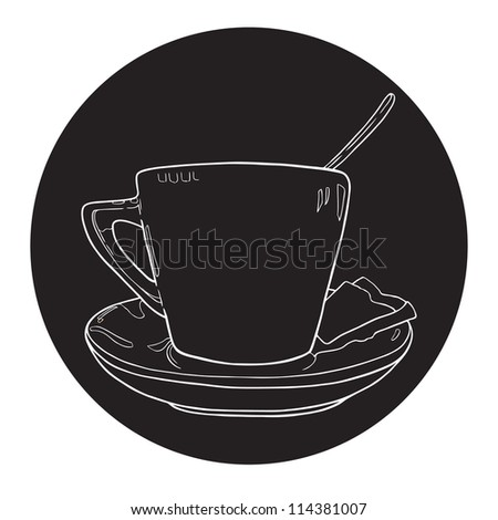 Coffee Spoon Drawing Hand Drawn Cup of Coffee With