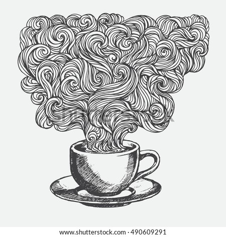 hand drawn cup of coffee with