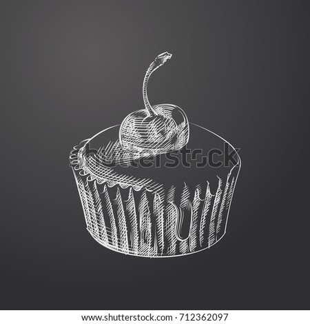 Hand Drawn Cupcake Sketch Symbol isolated on chalkboard. Vector dessert Element In Trendy Style