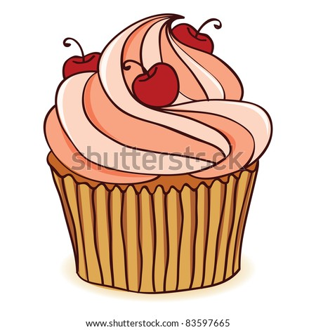 Hand drawn cupcake with cherries. EPS 8 CMYK with global colors vector illustration. - stock vector
