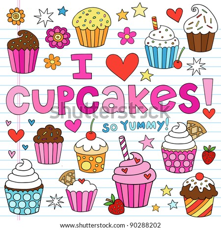 Hand-Drawn Cupcakes Dessert Notebook Doodle Design Elements Set on Lined Sketchbook Paper Background- Vector Illustration