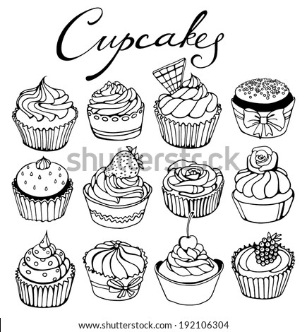 hand-drawn cupcakes set