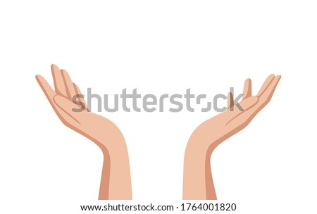 Hand drawn cupped hands illustration. Raised hands vector concept. Volunteering charity, votes, support, hope and peace. Vector human open hands isolated on white background