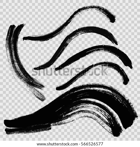 Hand drawn curved brushstrokes created by dry brush. Grunge style set on the overlay background. Vector clip art elements for expressive design.