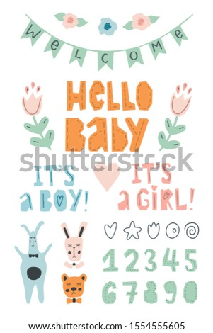 Hand drawn cute baby metrics design kit. Pastel color poster, card, greeting creation set. Hand lettering numbers and phrases to greet the newborn baby.