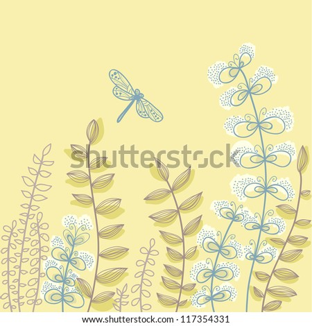 Hand drawn cute background with flowers and dragonfly. Vector illustration