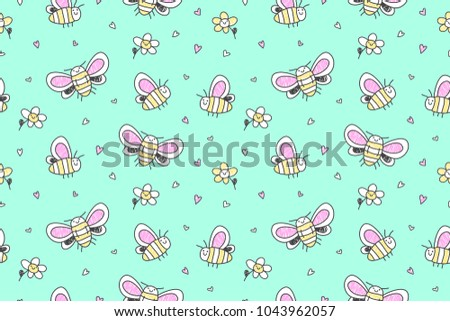 hand drawn cute big butterflies seamless pattern