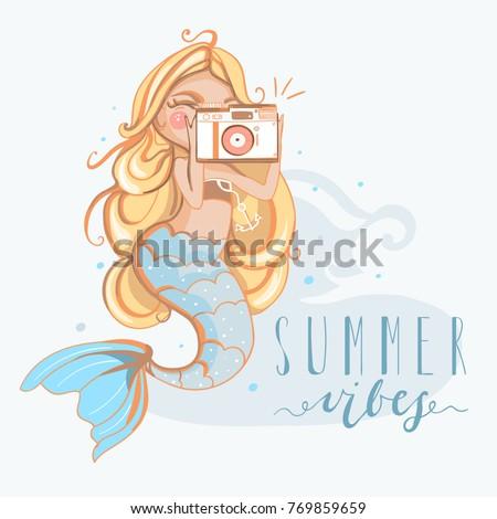 hand drawn cute blond mermaid