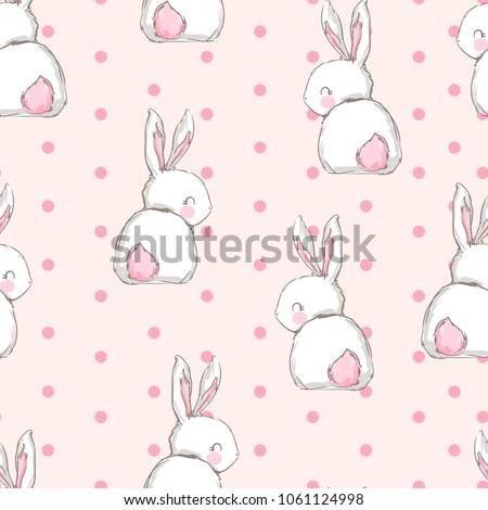 Hand Drawn Cute Bunny Pattern, print design rabbit background, children print textile design
