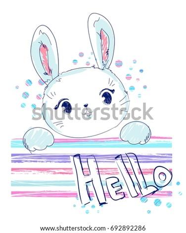 Hand Drawn Cute Bunny, Vector Rabbit Illustration, print design bunny, children print on t-shirt girl.