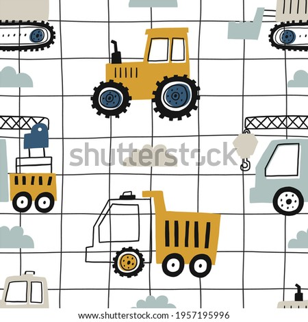 Hand drawn cute cars - Truck, tractor, cargo crane, bulldozer, excavator. Boho Seamless vector pattern with cute cars for fabric, textile and wallpaper design. Vector cars in scandinavian style