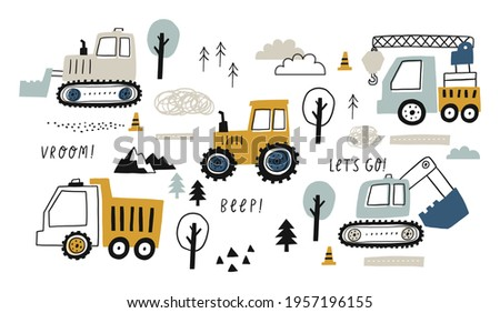 Hand drawn cute cars - Truck, tractor, cargo crane, bulldozer, excavator. Vector set with cute cars for fabric, textile and wallpaper design. Vector cars in scandinavian style