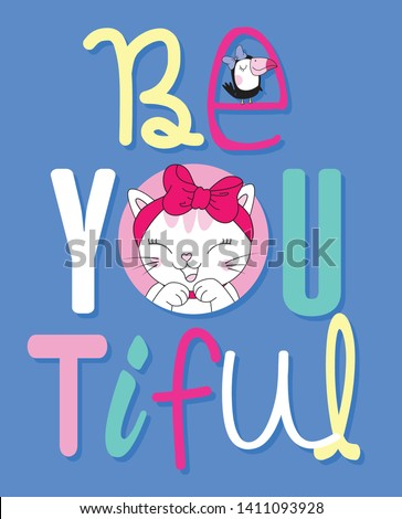 Hand drawn cute cat illustration for t shirt printing #1411093928