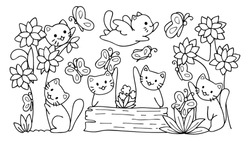 Hand drawn cute cats playing with butterfly in the forest,for design element and coloring book page.Vector illustrator.