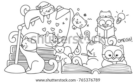 hand drawn cute cats reading