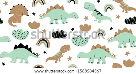 Hand drawn cute dinosaurs seamless pattern. Children's pattern with dinos, rainbows, clouds, stars, polka dots for fashion clothes, shirt, fabric. Scandinavian design. Kids green dino pattern for kids