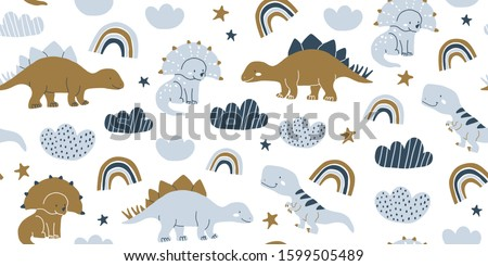 Hand drawn cute dinosaurs seamless pattern. Children's pattern with dinos, rainbows, clouds, stars, polka dots for fashion clothes, shirt, fabric. Scandinavian design. Kids blue dino pattern for boys