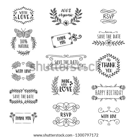 Hand drawn cute floral logo templates with various text