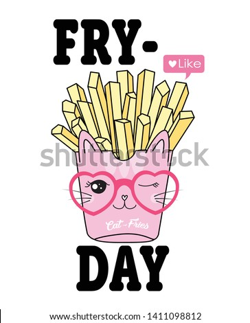 Hand drawn cute french fries illustration for t shirt printing