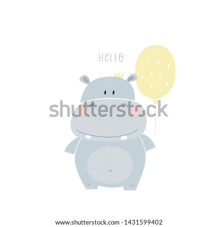Hand drawn cute hippo vector illustration. Cartoon hippopotamus vector print. Can be used for design of t-shirts, posters and Baby Shower party Photo stock ©