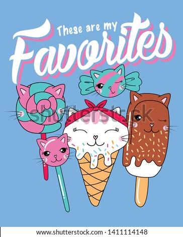 Hand drawn cute ice cream illustration for t shirt printing