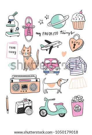 Hand drawn cute kitty, kitty and heart vector for t shirt printing and embroidery, Graphic tee and printed tee