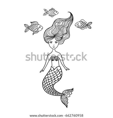 hand drawn cute little mermaid