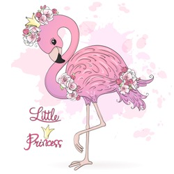 Hand drawn cute Little Princess Flamingo with flowers. Vector Illustration EPS10.