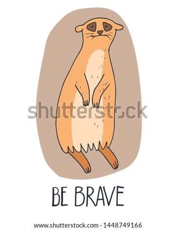 hand drawn cute meerkats with