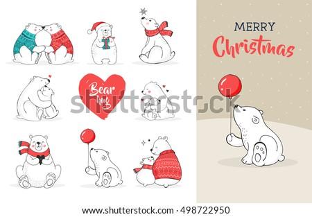 hand drawn cute polar bears